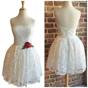 Tarik Ediz short formal - white lace